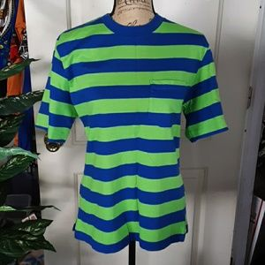 Land's End Super T Size M NWOT green/blue stripes